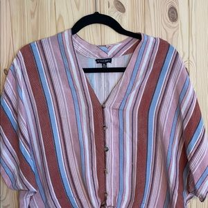 XL loose fitting button down top